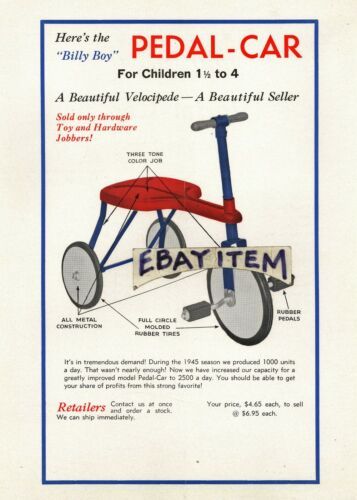 1946 ADVERTISING FLYER billhead BILLY BOY PEDAL CAR Walter H Allen Dallas Texas