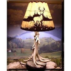 Delightful Wilcor Single Antler Lamp With Deer Shade