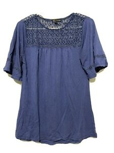 Cable and Gauge Top W/Front & Back Lace Panel Blue Small
