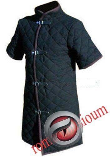 X-MAS GIFT Beautiful Thick Black Viking Gambeson Medieval Collar Short Sleeves