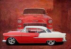 1955 Chevy Bel Air Chevrolet Car Poster Print Classic Car Photo Wall Art Ebay