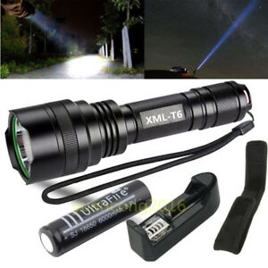 UK Tactical 8000LM Q5 3 Modes LED Zoomable Flashlight Torch Lamp Holster