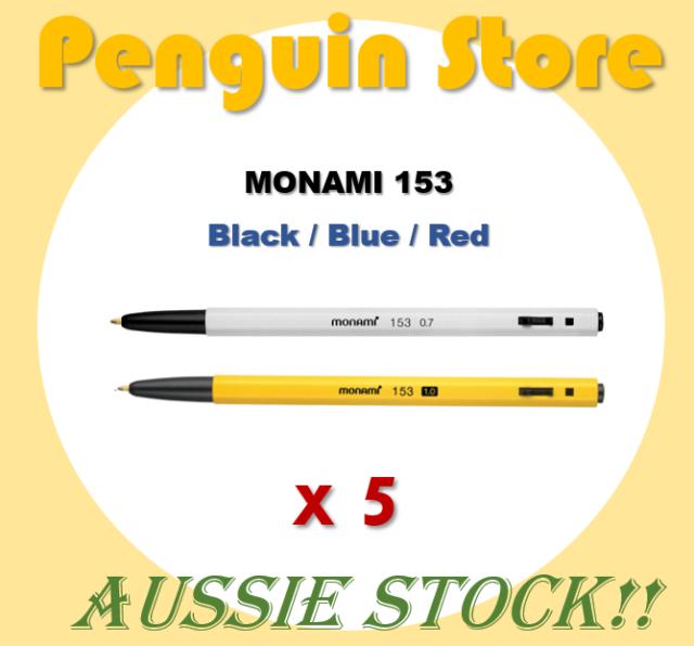 5 x MONAMI 153 0.7mm 1.0mm Ballpoint Pen Black Blue Red Smooth Writing Korea