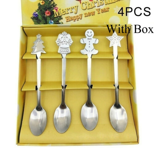 Cream Kitchen /& Dining Tableware Christmas Coffee Spoons Tea Scoops Kids Spoon