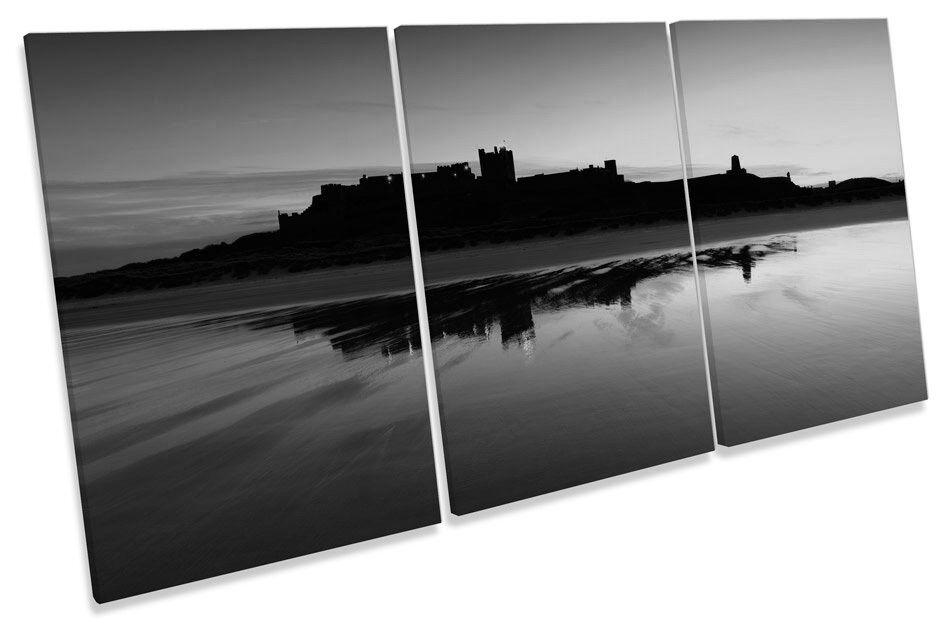 Bernicia Castello tramonto B&W TREBLE TELA parete arte foto stampa
