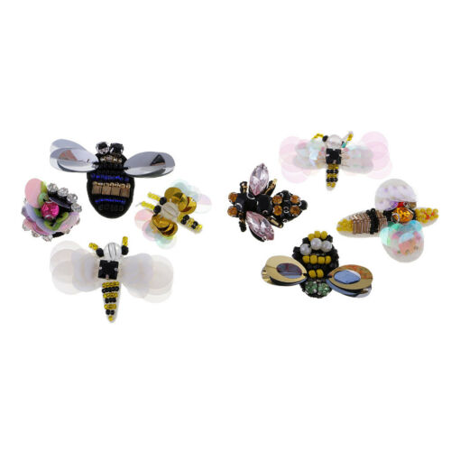 8Pcs 3D Bee Dragonfly Sequin Crystal Patch Beaded Applique DIY Sewing Crafts