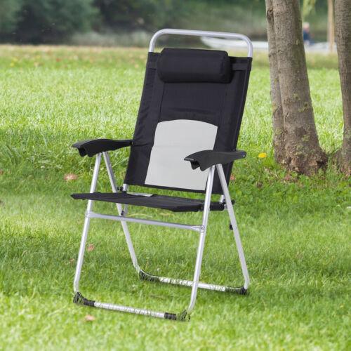 Outsunny Outdoor Garden Folding Chair  Armchair Reclining Seat w//Pillow Black