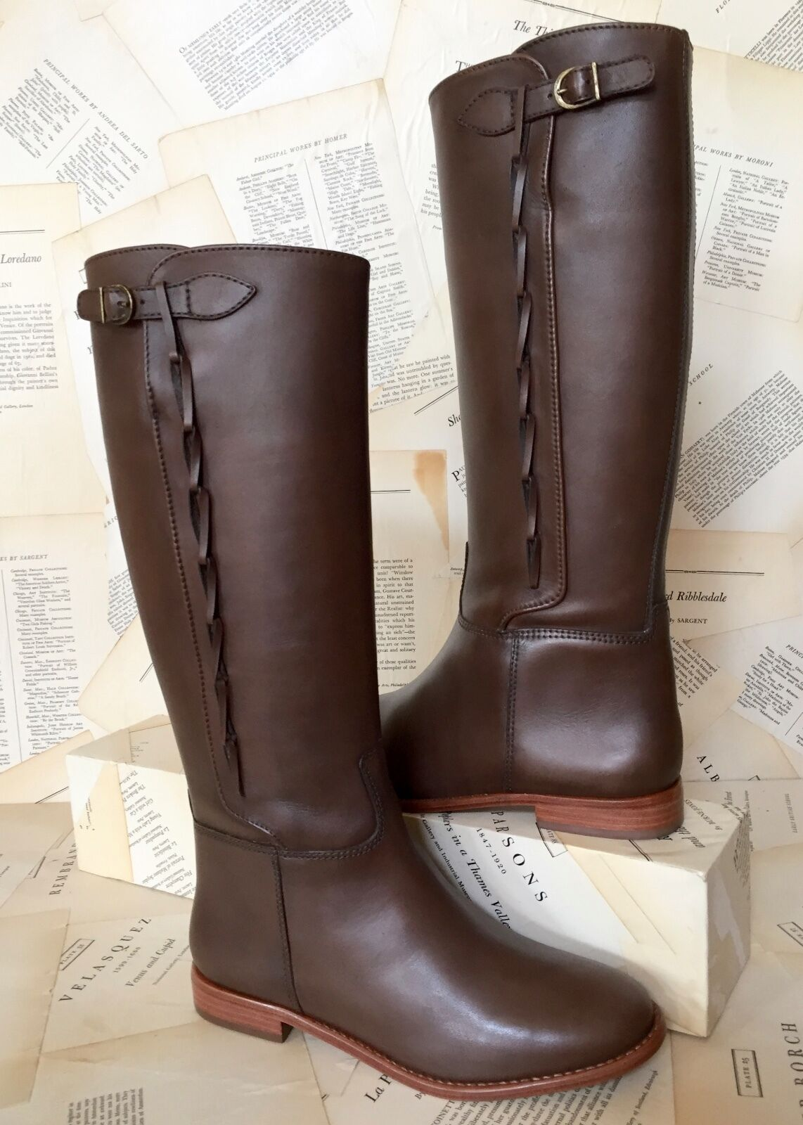 NIB Candela Brown Side Buckle Braided Bought at Anthropologie Riding Boots 8.5