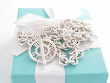 """TIFFANY & CO SILVER ATLAS CHARM 18"""" TOGGLE NECKLACE PACKAGING BOX POUCH RIBBON"""
