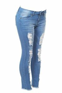 Cover Girl Women/'s Distressed Torn Fray Hem Skinny Jeans Blue Denim Wash
