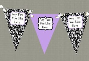 Home, Furniture & DIY Coral White Black Damask Personalised Hen Do Night Party Bunting