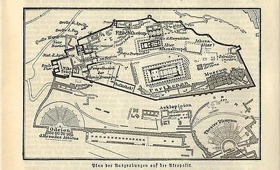Cartina Geografica Londra E Dintorni.Carta Geografica Antica Atene Athina Acropoli E Dintorni 1890 Old
