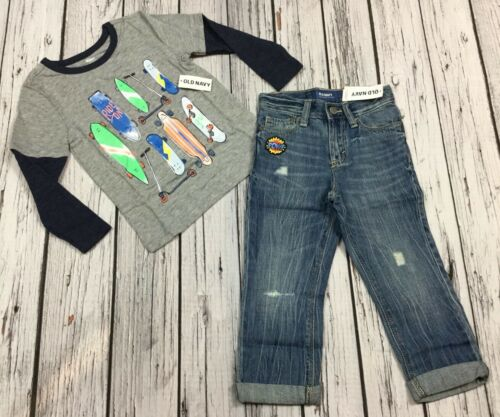 """Nwt Skateboard Shirt /& """"POW!"""" Relaxed Denim Jeans 3T Outfit Old Navy Boys 3"""