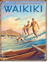 Waikiki Palm Beach Surf Surfer Surfboard Longboard Surfboards Fins Metal Sign