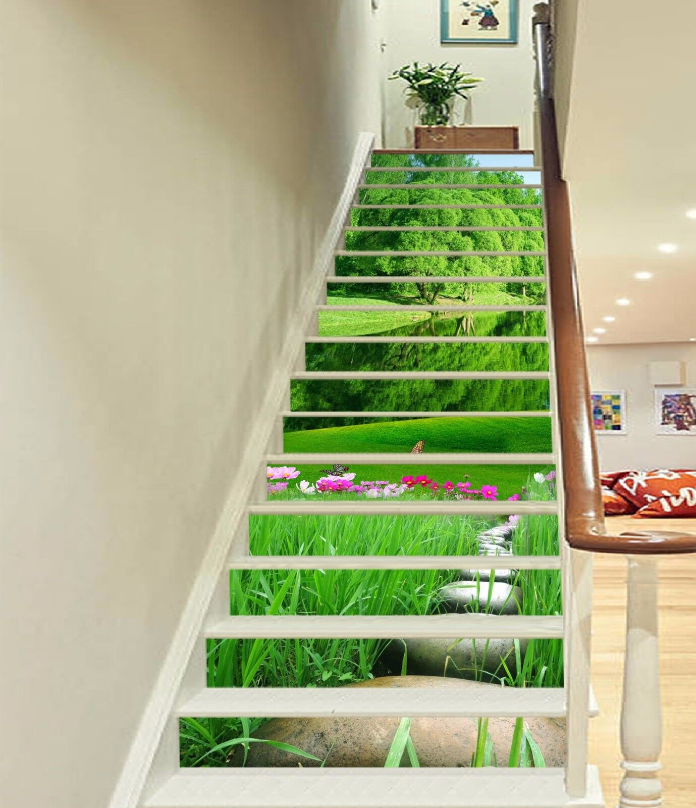 3D Lake Grass 051 Stairs Risers Decoration Photo Mural Vinyl Decal WandPapier US