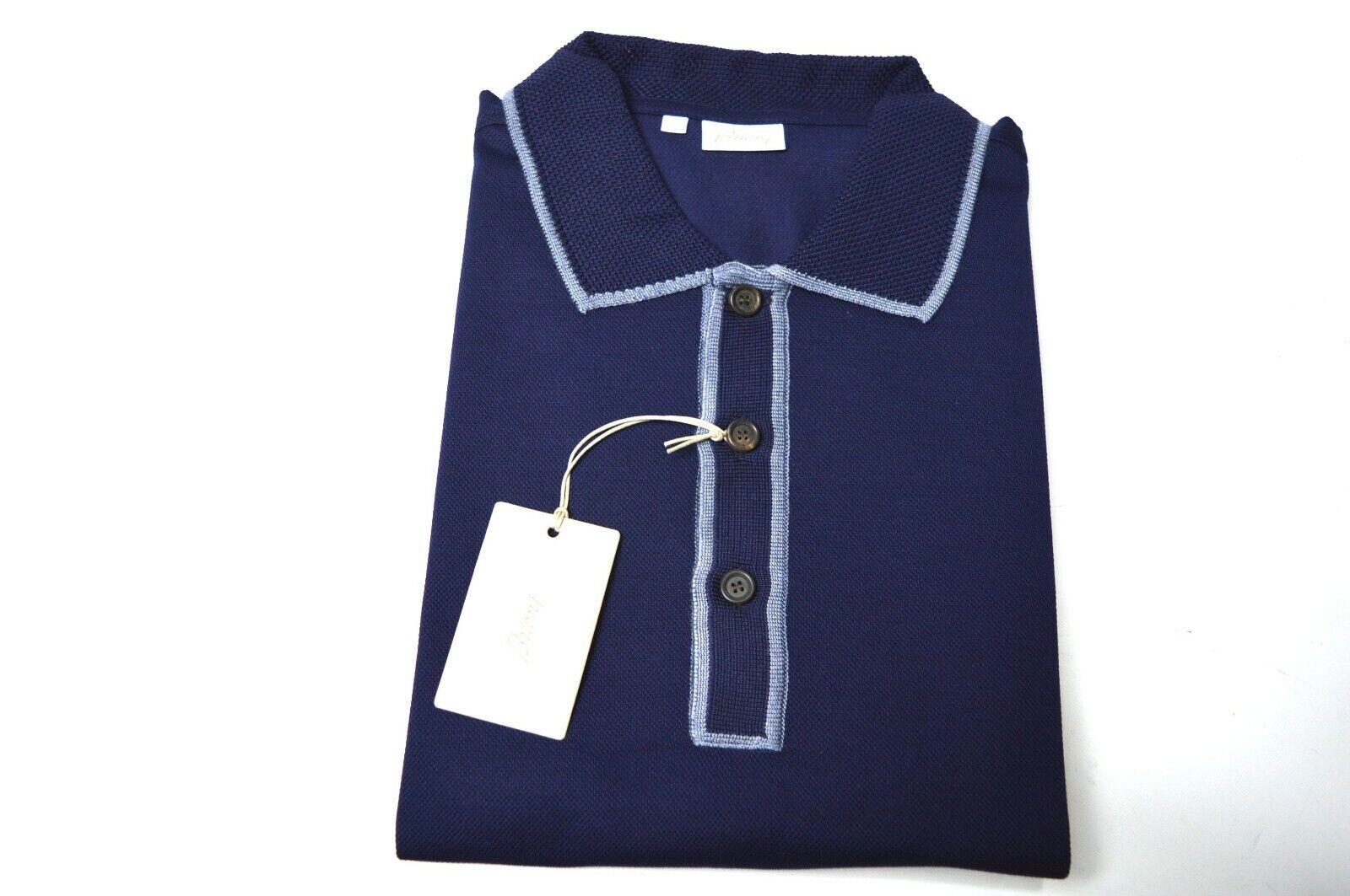 NEW BRIONI Polo Short Sleeve baumwolle Silk Größe 3XL Us Eu 58 Made In  (Sp50)