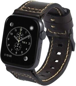 Meltingpoint Compatible with Apple Watch Band 42mm 44mm for men, Genuine Leather