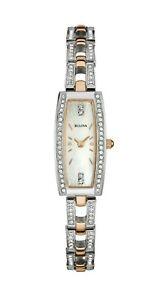 Bulova Women's Quartz Crystal Accent Two-Tone Bracelet 15mm Watch 98X110