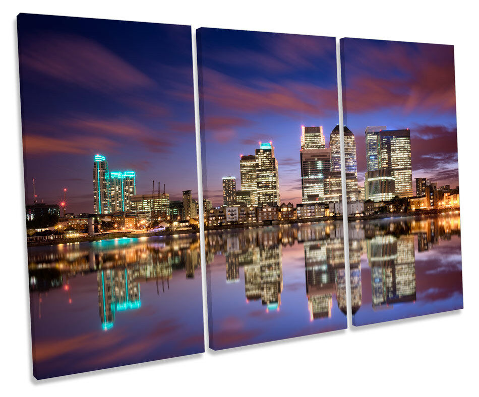 London Skyline Canary Wharf Bild TREBLE CANVAS Wand Kunst Drucken