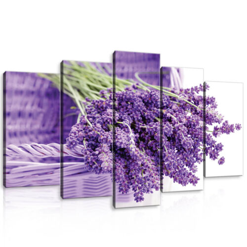 Set (5 pièces) Fabriquée la fresque Lavande Nature Fleurs Panier Violet 3fx11185s17