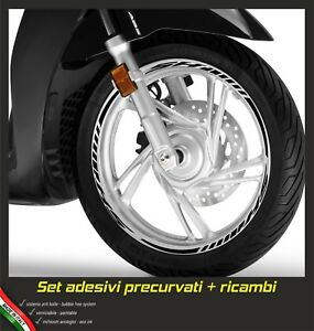 Set-Tiras-Adhesivos-Rueda-Moto-Ruedas-Stickers-Scooter-Sh-125-150-300-Negro