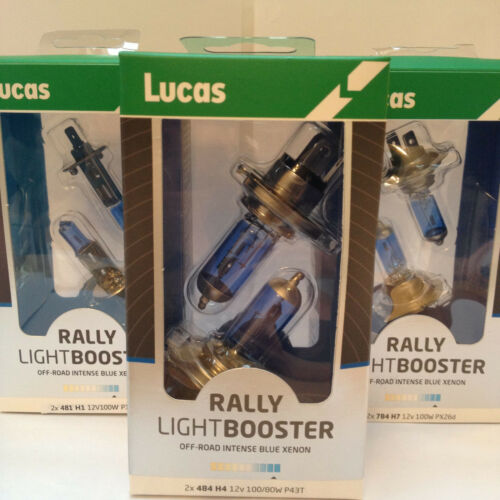 Lucas H1 H4 H7 Rally lightbooster Xenon Faro Off-Road Azul Intenso X2 Bombillas