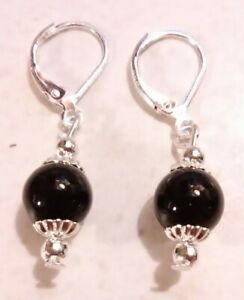 Black-Onyx-8mm-amp-925-Sterling-Silver-Lever-Back-Earrings