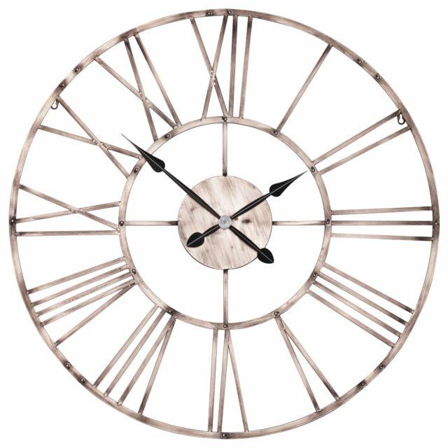 Large 92cm Vintage Copper Effect Skeleton Metal Wall Clock