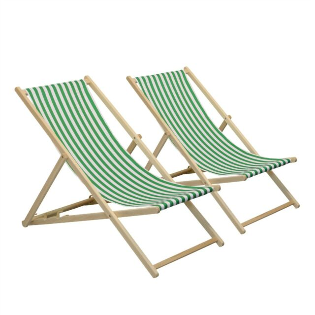 folding wooden deckchair garden beach seaside deck chair green white stripe x2 ebay. Black Bedroom Furniture Sets. Home Design Ideas