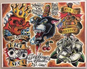 Tattoo Studio Shop Flash Single Dagger Skull Dice Brass Knuckles 11 X 14 Print Ebay