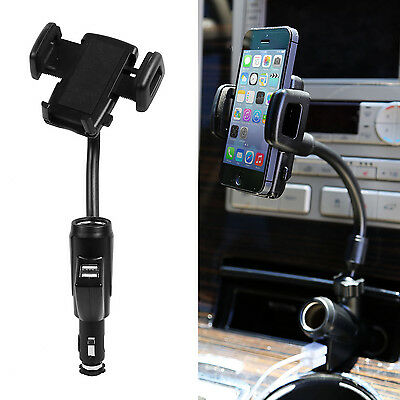 Dual USB Port Car Charger Cell Phone Mount Holder for Samsung Note iPhone 6 Plus