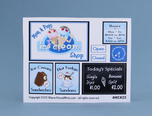 1:12 Scale Dollhouse Miniature Sheet of Ice Cream Shop Signs #HCX23