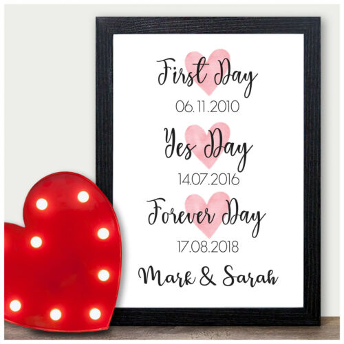 Personalised Memorable Dates Gifts for Mr /& Mrs Husband Wife Anniversary Prints