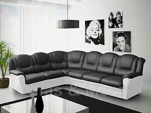 Details about TEXAS BIG CORNER SOFA BLACK AND WHITE GREY BROWN AND WHITE  FAUX LEATHER 6 SEATER