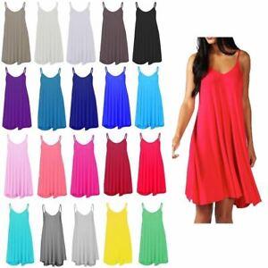 3a6290b101383 Details about Women Ladies Plain Summer Cami Swing Min Dress Long Top vest  Plus lot Size 8-26