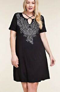 Details about VOCAL PLUS SIZE BLACK CRYSTAL CROSS ANGEL WINGS X NECK TUNIC  DRESS 1X 2X 3X USA