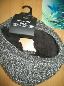 BNWT-BLACK-WHITE-FLECK-KNITTED-FLEECE-LINED-SNOOD-SCARF