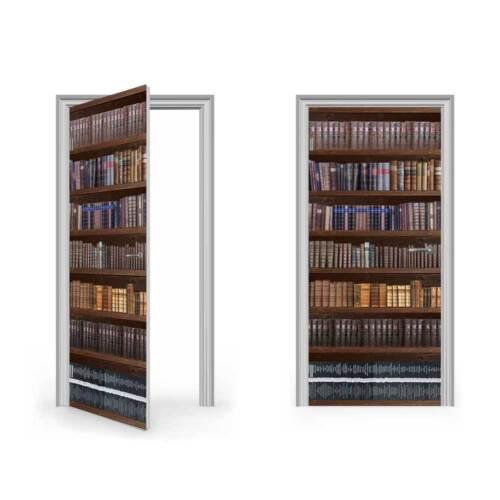 Antiguo Librero Pegatina de Vinilo para puerta//doorwrap//Piel De Puerta//Puerta Pegatina..