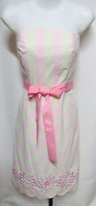 Lilly-Pulitzer-Pink-Green-Stripe-Strapless-Dress-4-Floral-Embroidery