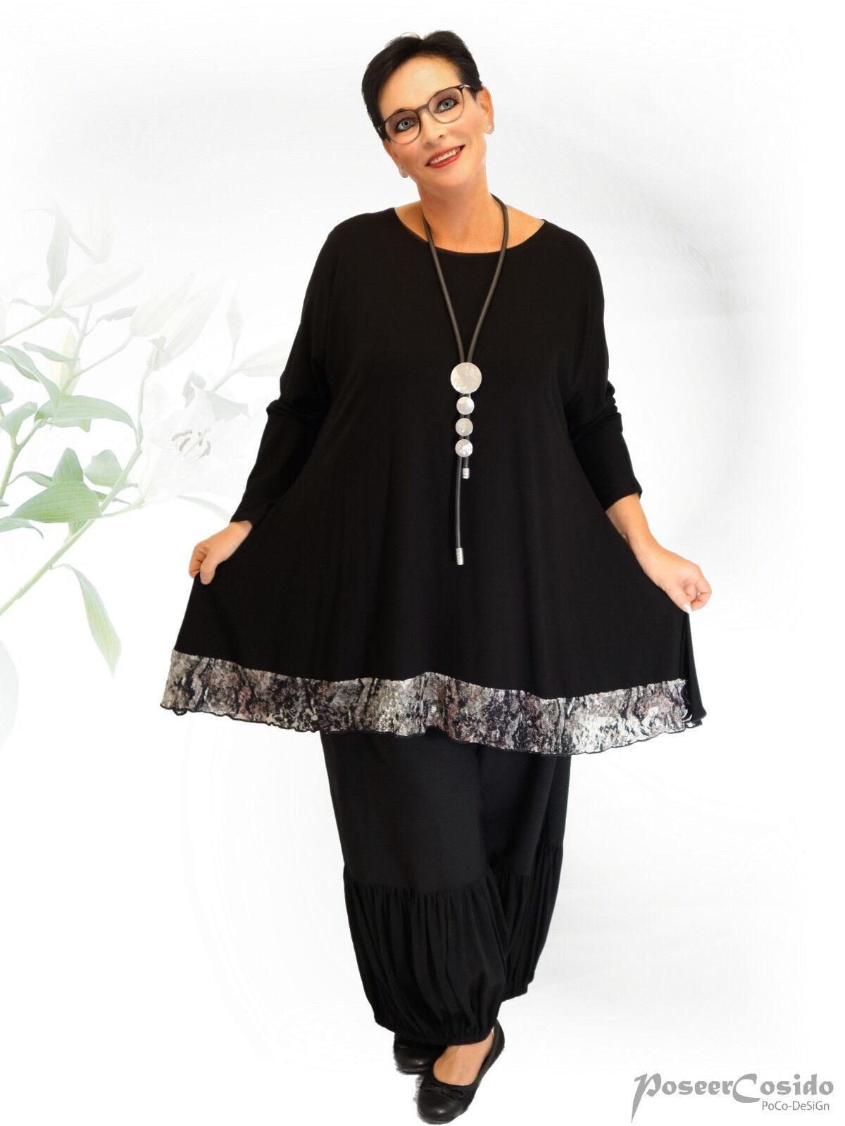 PoCo DeSiGn° LAGENLOOK Tunika Long-Shirt Spitzen-Saum schwarz L-XL-XXL-XXXL