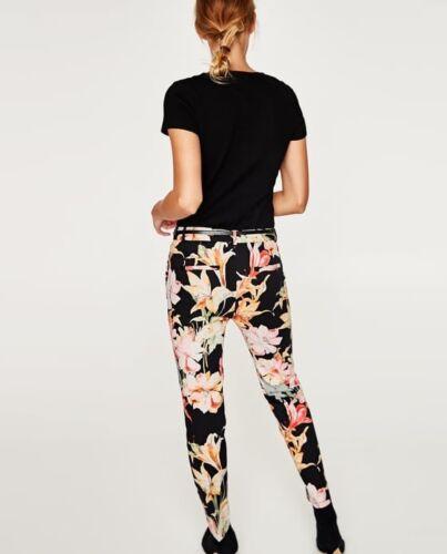Pantaloni Nwt Ss17 Taglia floreale con 6 cintura Zara Woman fantasia multicolore RPwqRB7