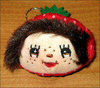 Monchhichi Monchichi Doll Head Figure Toy Plush Keychain Sekiguchi Strawberry