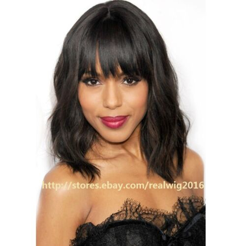 """12"""" Natural Wave with Bang 100% Human Hair Full Lace Wig/Lace Front Wig 4 Colors"""