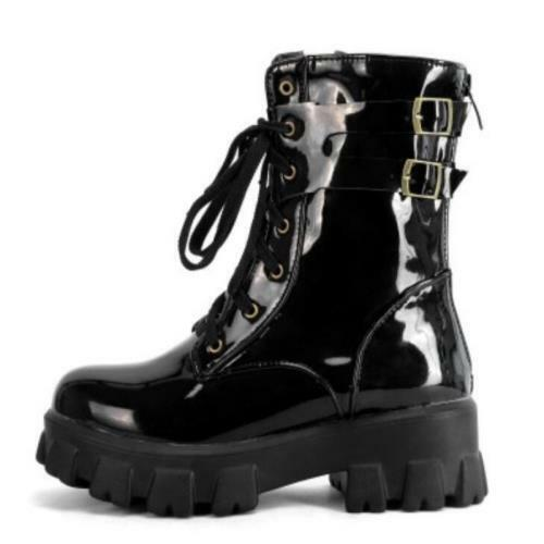 Women Lace Up British Style Biker Low Mid Chunky Heel Buckle Ankle Boots 34//43 D