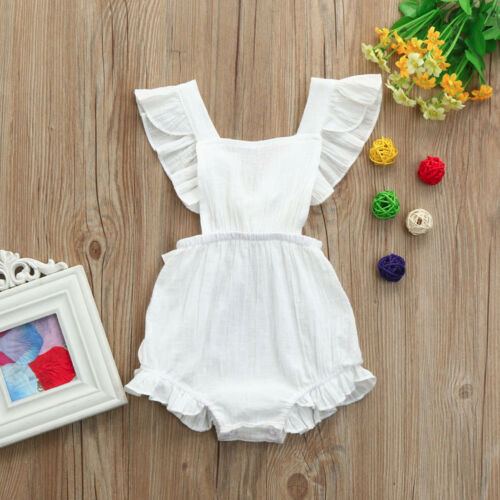 Newborn Baby Girls Ruffles Romper Backless Jumpsuit Outfits Clothes Sunsuit LZ