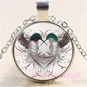 Hummingbird Cabochon Glass Silver//Black//Bronze Chain Pendant Necklace#DN16