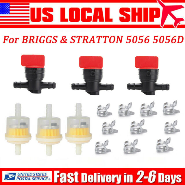 "5pcs 1//4/"" In Line Fuel Gas Filter Shut Cut Off Valve Clamp For Briggs Stratton"