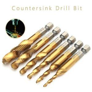 M10 Set 6x Hex Shank Titanium Plated Screw Thread Drill Bits Compound Tap M3