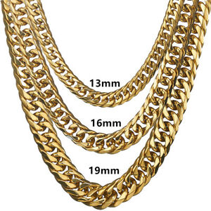 3d5f0feaaee 9-21mm Heavy Gold Cut Curb Cuban Rombo Chain 316L Stainless Steel ...