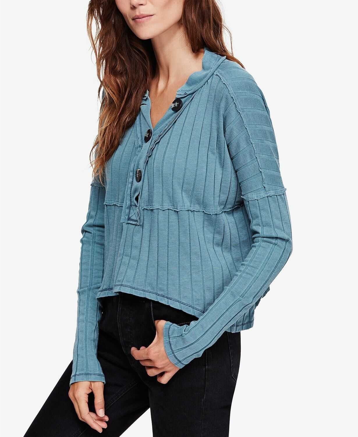 Free People In The Mix Long Sleeve Ribbed Henley Top Ocean bluee Teal S